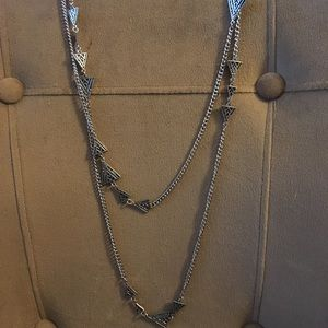 Double Chain Triangle Necklace